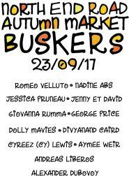 north end road autumn market busker flyer