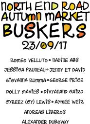 north end road autumn market busker flyer